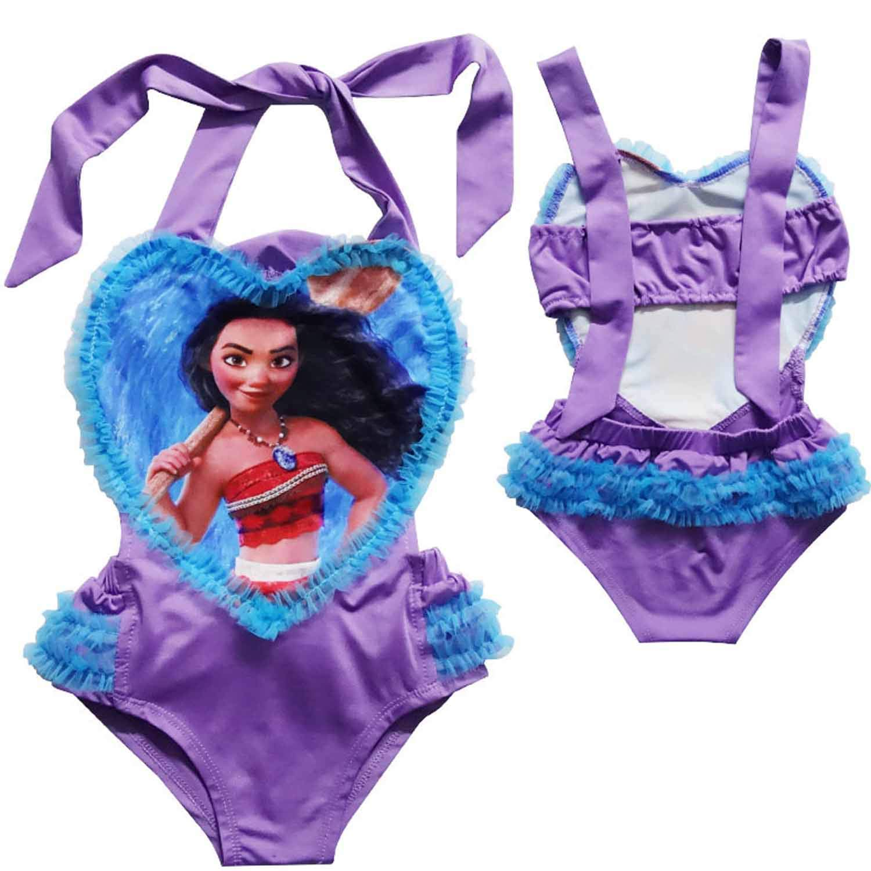 Minin Moana Toddler Girls One-piece Swimwear Swimsuit Heart-shaped Swimsuit