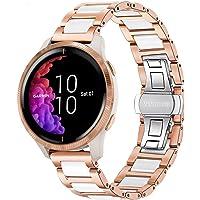 TRUMiRR Compatibel met Garmin Venu/Garmin Vivoactive 3 Horlogeband, roségoud, roestvrij stalen horlogeband witte…