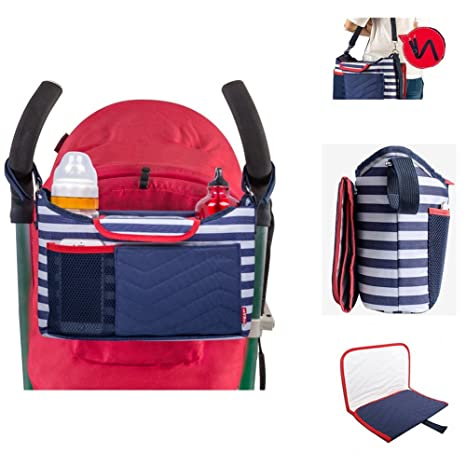 Cochecito Cochecito Cochecito Organizador, carrito de bebé bolsa de pañales bolso cambiador, 2 soportes