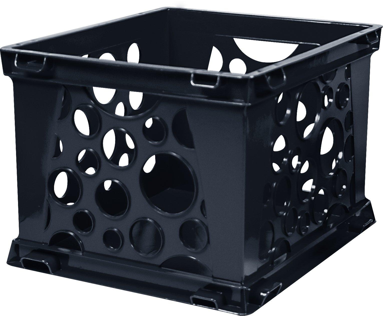 Storex Mini Crate, 9 x 7.75 x 6 Inches, Black, Case of 3 (STX61594U03C)