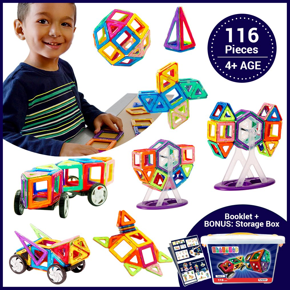 贅沢屋の Brainiac ® B07DHB2P3L 116pc Magnetic Building Blocks for Set Magnetic for Age 4 +子供、幼児、観覧車、車のための教育セットボーナスストレージボックスfor Boys and Girls B07DHB2P3L, 吉永町:71188a7f --- svecha37.ru