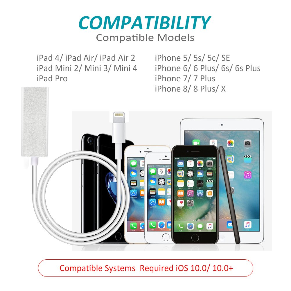 RayCue Lightning to RJ45 Ethernet LAN Network Adapter for iPhone/iPad, iPhone Ethernet Adapter, 3.3ft/1m Cable, 10/100Mbps High Speed, System Required iOS 10.0 or Up by RayCue (Image #6)