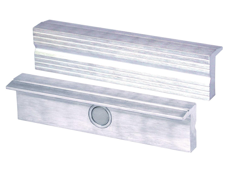 HEUER 110100 Schraubstockbacken / Schutzbacken | rechtwinkelig, planparallel, integrierte Spezialmagnete, passend zu Schraubstock 100 mm | Material: Aluminium 4665282