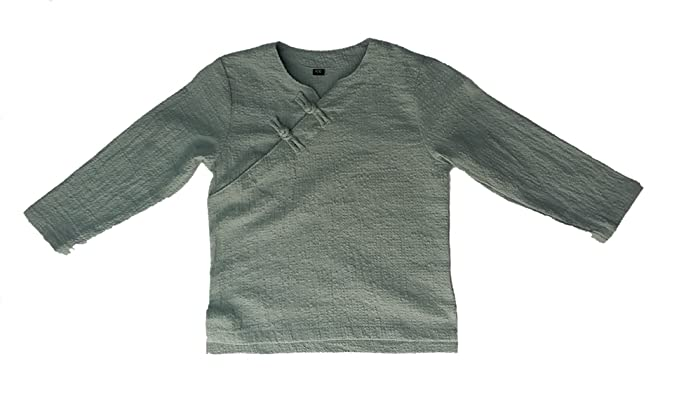 b0c7e29006fd1 I FEEL TOUCH Boy s Chinese Knotted Button Cotton-Linen Blend V-Neck Long  Sleeves