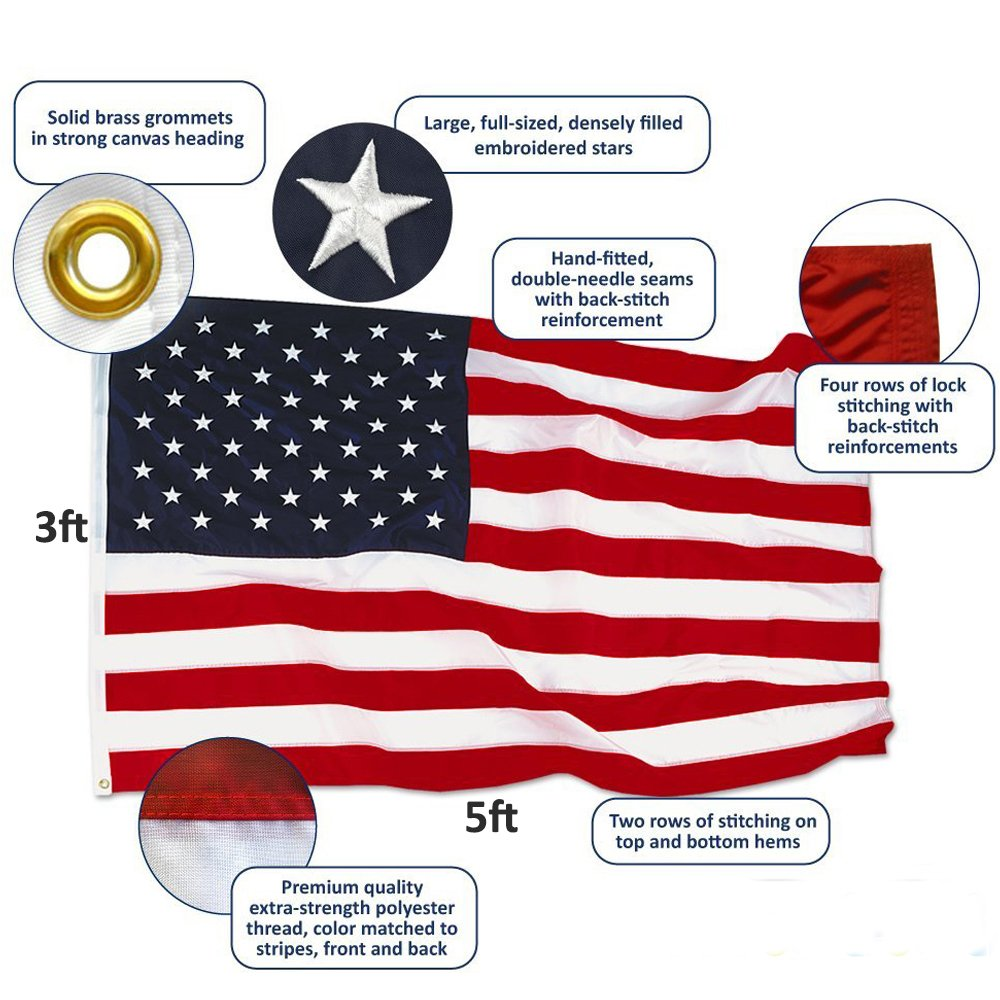 Amazon : Anley� [heavy Duty] American Us Flag 3x5 Foot Nylon   Embroidered Stars And Sewn Stripes  4 Rows Of Lock Stitching  Usa Banner  Flags With