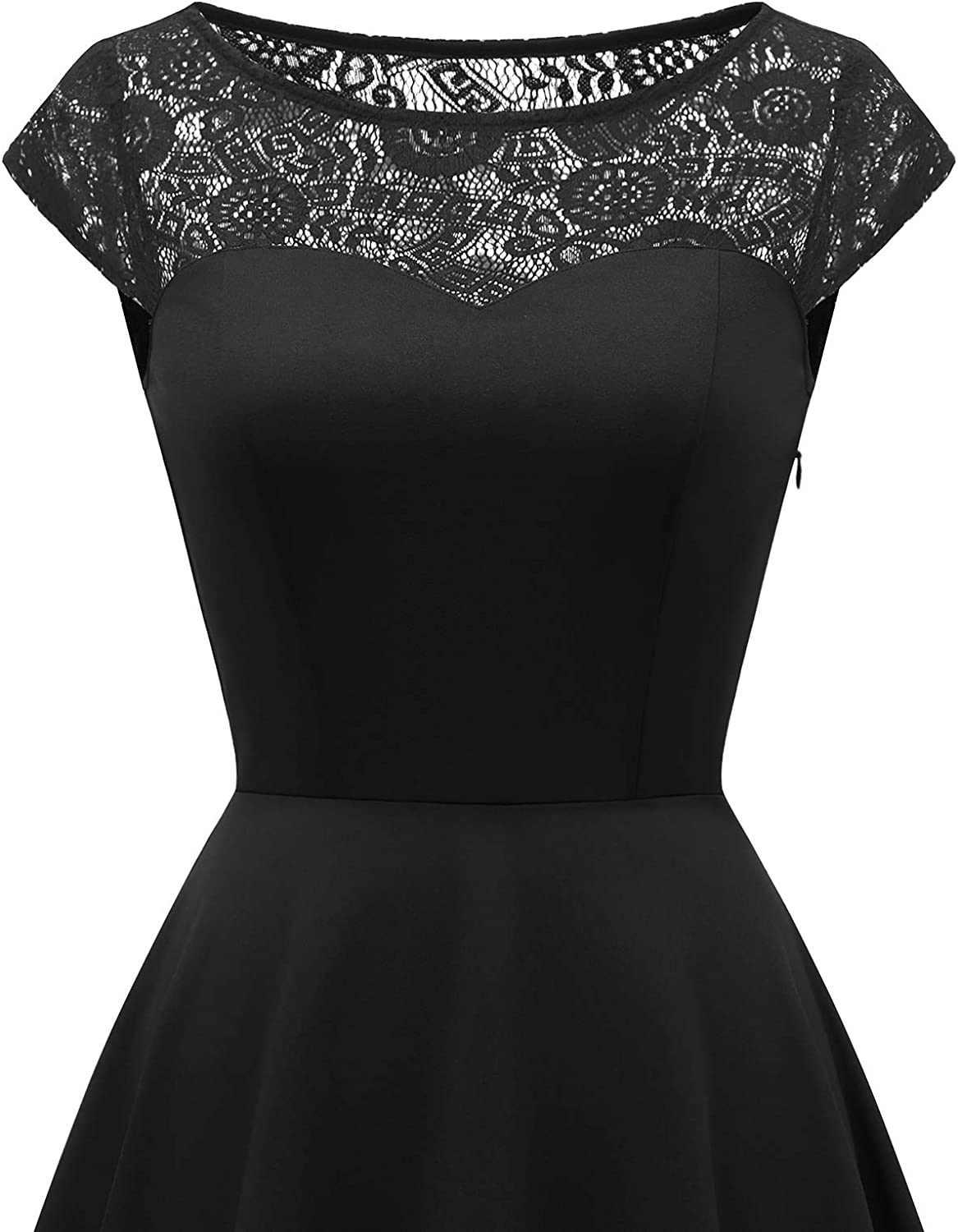 HomRain Womens 1950s Vintage Lace Collar Cap Sleeve /& 3//4 Sleeve Cocktail Evening Swing Party Dress