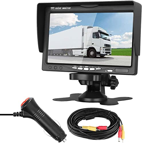 LeeKooLuu Vehicle Rear View LCD Monitor 7 Display Full Color Wide Screen Hook on Dash Windshield for Backup Camera Systems for Car Pickup Truck Camper RV