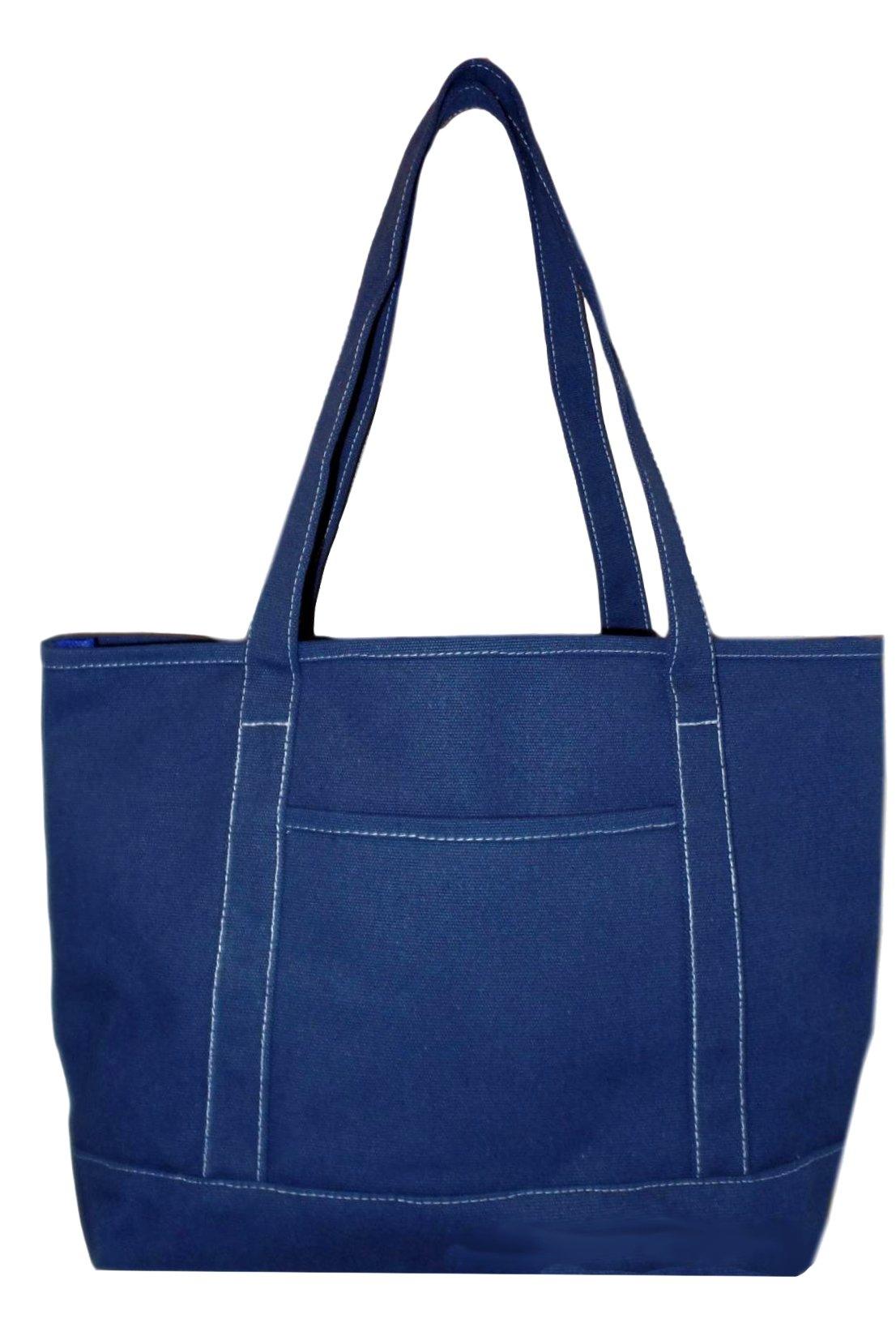 Premium Large 24 oz Cotton Canvas Open Top Shopper Tote Bag (Navy)
