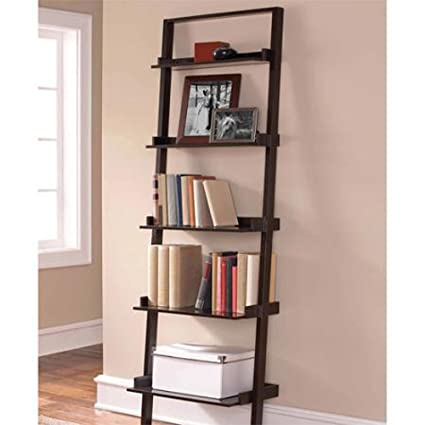 Beau Leaning Ladder 5 Shelf Bookcase, Espresso Contemporary Style Space Saving  Tiered Design Shallow