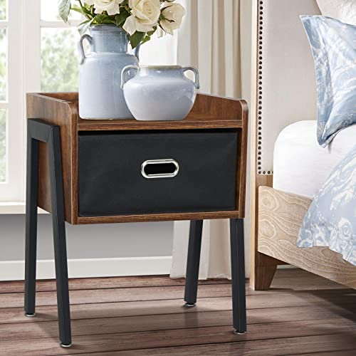 KINGSO Nightstands Industrial Side End Table