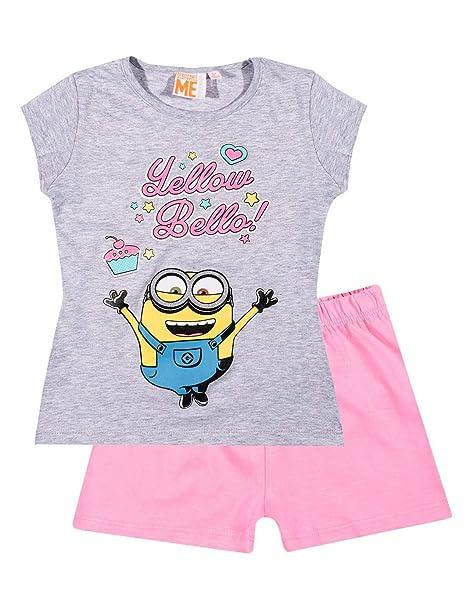 4c6312449 les minions - Camiseta de manga corta - para niña gris rosa 6 años   Amazon.es  Ropa y accesorios
