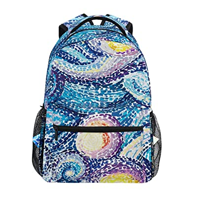 ZZAEO Night Sky Stars Van Gogh Style Backpack Purse Laptop Bag Cute School Backpack Travel Accessories Daypack Book Bags for Students/Boys/Girls/Women: Clothing