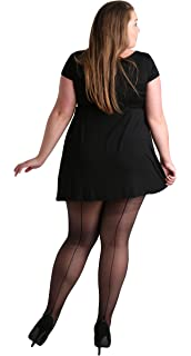 86cc61660b6 Plus Size Classic Seamed Sheer Denier Tights Black. Stripe Pantyhose for Large  Sizes 12-