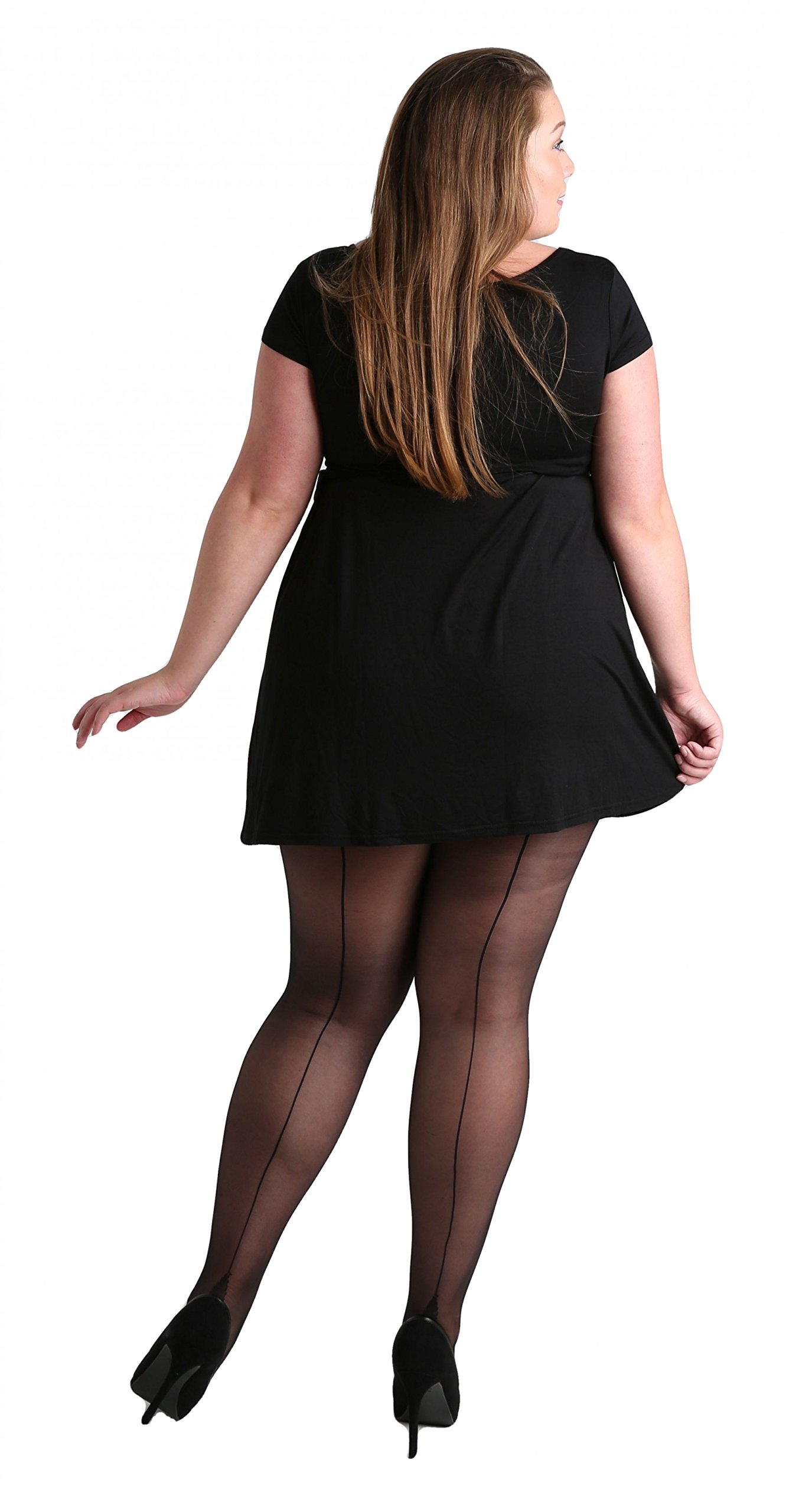 Plus Size Classic Seamed Sheer Denier Tights Black. Stripe Pantyhose for Large Sizes [Made in Italy] (16-22)