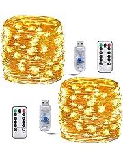 Stringa Luci Led,Tonskooners [2 set] 8 modalità 10M 100 LEDs Filo di Rame Catene Luminose USB Impermeabile Illuminazione(giallo)