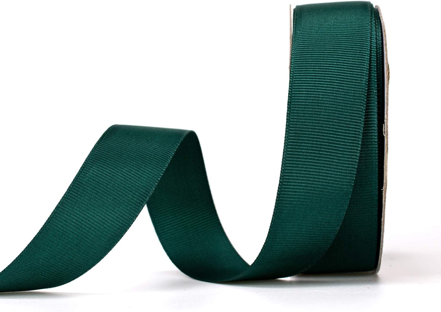 ATRBB 25 Yards 1 Inch Solid Grosgrain Ribbon Roll for Gift Wrapping DIY Hair Accessories (Black Green)
