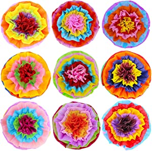 """Supla 9 Pcs Fiesta Paper Flowers Pom Poms Flowers Tissue Pom Poms Fiesta Flower Tissue Centerpieces 15.4"""" Wide for Mexican Rainbow Theme Party Fiesta Cinco De Mayo Party Frida Kahlo Party Decoration"""