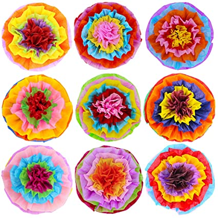 Amazon Supla 9 Pcs Fiesta Paper Flowers Pom Poms Flowers Tissue