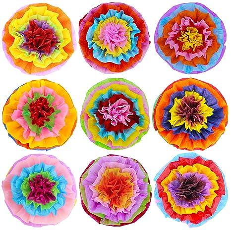 Supla 9 Pcs Fiesta Paper Flowers Pom Poms Flowers Tissue Pom Poms 15 4 Wide For Mexican Rainbow Theme Party Fiesta Cinco De Mayo Party