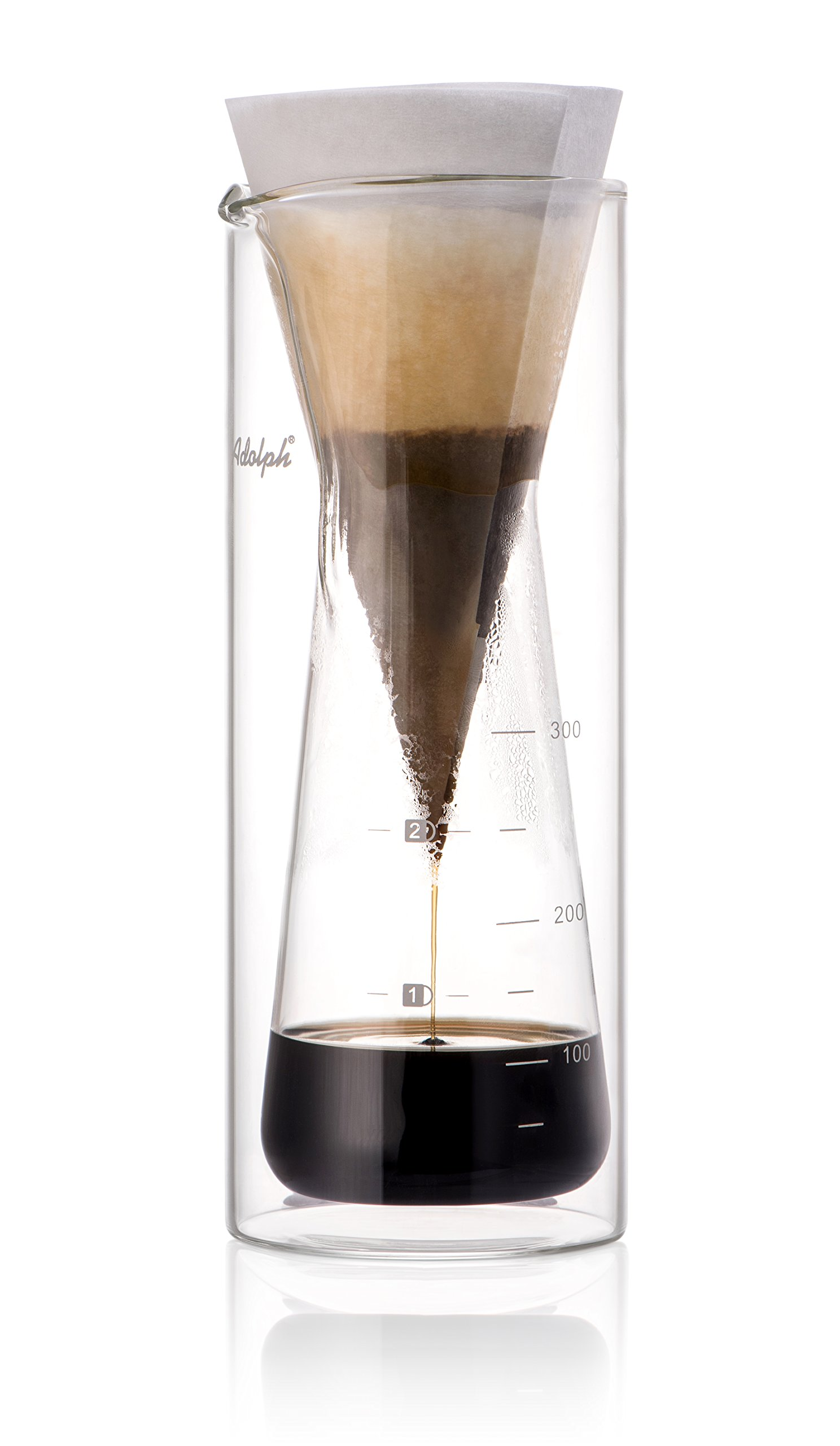 Adolph Double-Wall Glass Heat Insulation Drip Coffeemaker Pour Over Coffee Maker - Great Coffee Made Simple - 3 Cup Hand Drip Coffee Maker