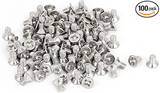 M5 x 25mm Phillips Flat//Countersunk Head Machine Screws,Brass,Metric,Full Thread,Right Hand,Pk 30