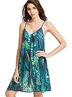 ROMWE Print Sundress Summer Beach Sleeveless Loose Casual Dress