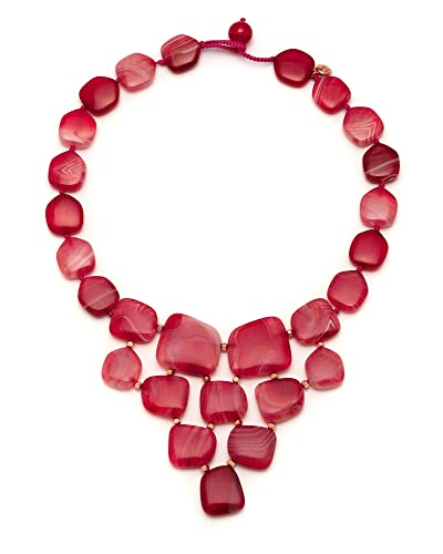 Lola Rose Women's Base Metal Bohemian Express Pebble Bib Scarlet Agate Necklace of Length 50 cm 1Lc3z7cW8