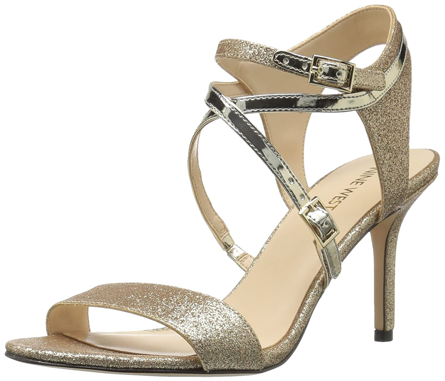 Nine West Womens Gypsee Glitter Dress Sandal Light Gold Size 85