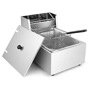TimmyHouse Electric Deep Fryer 2500W 6L Commercial Tabletop Restaurant Frying Basket Scoop