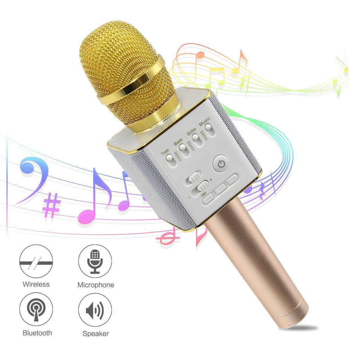 Ula Wireless Karaoke Microphones, Bluetooth Karaoke Machine, Upgraded 2600mAh Stereo Player Outdoor Family KTV Party Handheld Singing Q9, Compatible With Smartphone Devices (Great Gift For Kids)