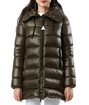 Wiberlux Moncler Suyen Women's Hooded Two-Way Zipper Padded Jacket 1 Deep Olive