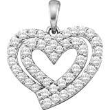 Silverraj Jewels Heart Pendant Collection 14K Yellow Gold Plated Simulated Excellent Cut Blue Sapphire /& White CZ Diamond Classic Heart Pendant With 18 Box Chain
