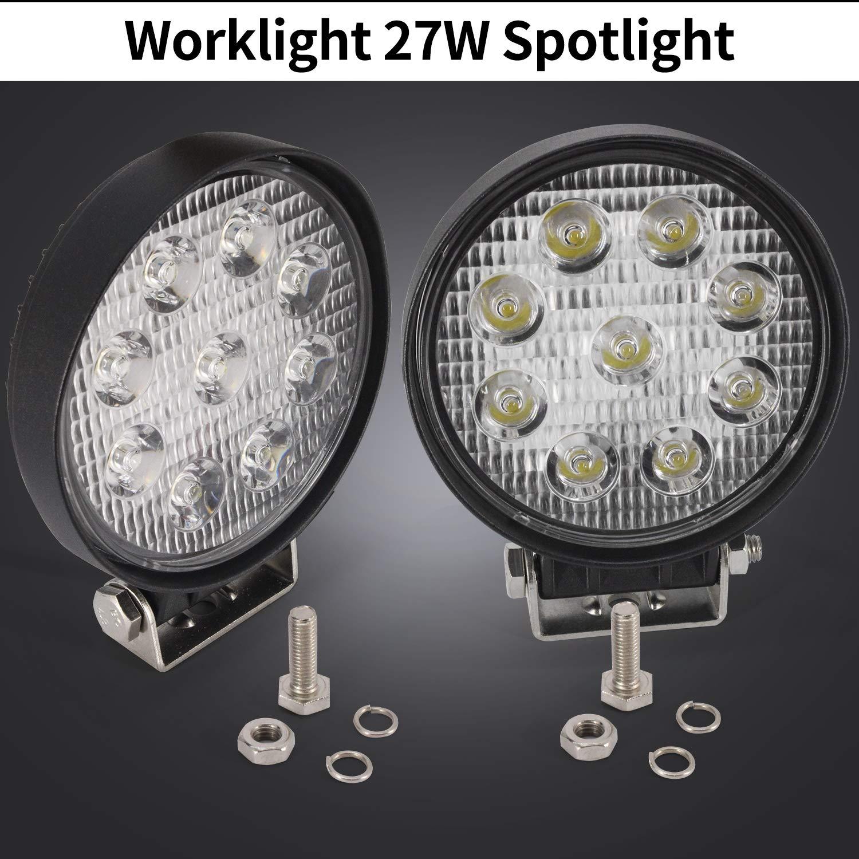 48W LED Flood Light Work Light,Square Cube Off-Road Driving Lamp IP67 6000K 60 Degree for Offroad Truck 4X4 Trunk ATV Boat J-e-e-p Pack of 2
