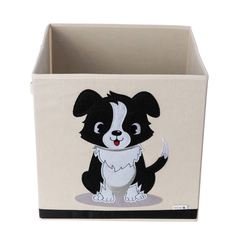 Caja de Almacenamiento / Cubo / Organizador – Diseño de Perro – Tela de Lona Reforzada Duradera – 33x33x33cm – La Caja de Almacenamiento de Animales Perfecta para Niños por Sun Cat GSW
