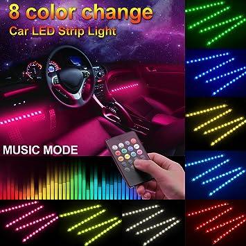 Amazon minger car led strip light4pcs dc 12v multi color car minger car led strip light4pcs dc 12v multi color car interior music light aloadofball Gallery