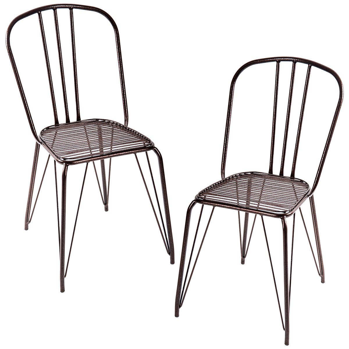 Merax Set of 2 High Back Steel Stackable Stencil Metal Dining Chairs for Bistro/Cafe