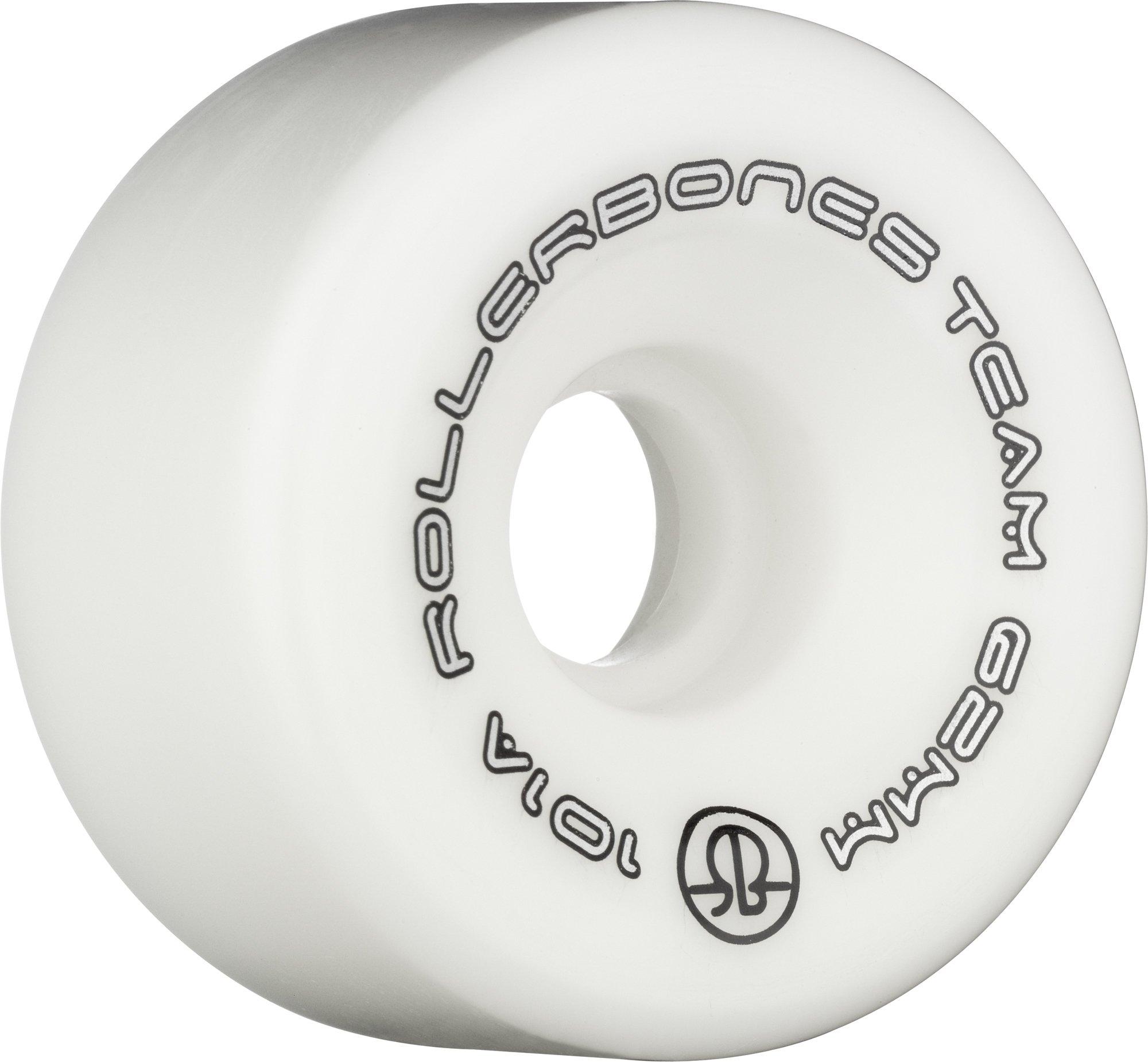 Rollerbones Team Logo 101A Recreational Roller Skate Wheels (Set of 8), White, 57mm