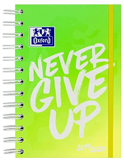Oxford – Agenda escolar Never Give Up NEON 12 x 18 cm 1 día por página 160 hojas con espiral doble ScribZEE compatible, color verde
