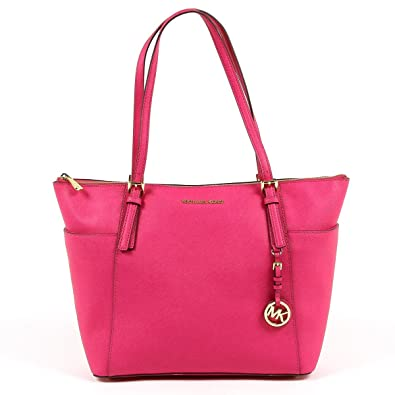 b094798a5f07 Amazon.com: Michael Kors Jet Set Item Large East West Top Zip Leather Tote  (Raspberry): Shoes