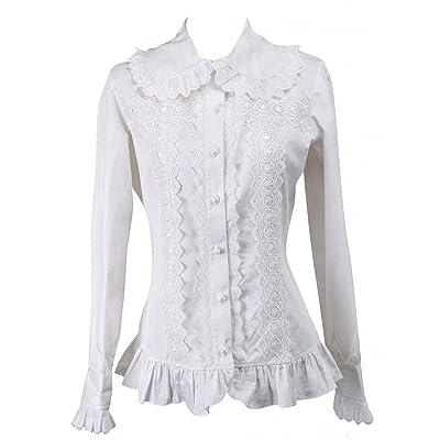 Ainclu Womens Breathable White Ruffled Trim Long Sleeves Cotton Lolita Blouse