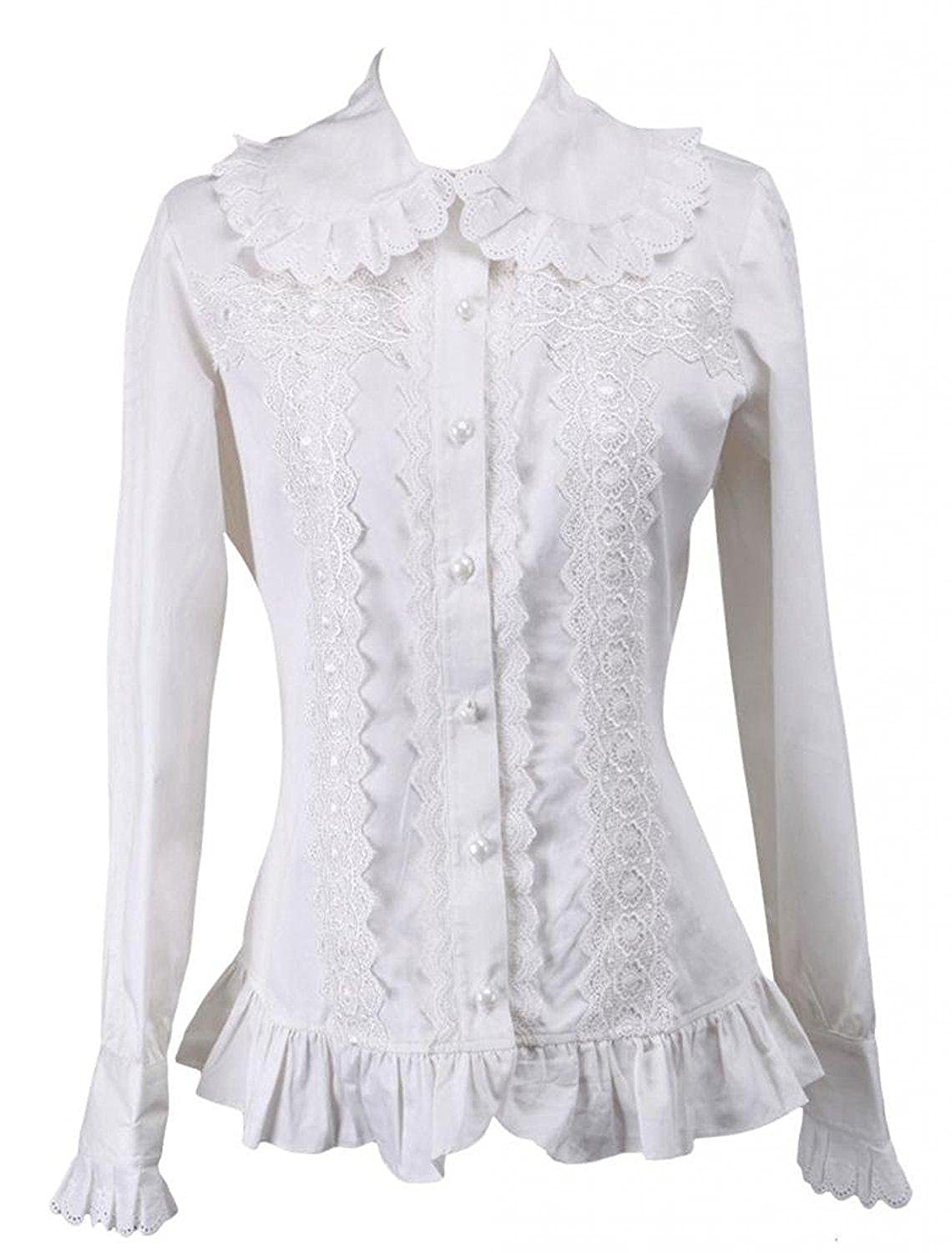 Ainclu Womens Breathable White Ruffled Trim Long Sleeves Cotton Lolita Blouse
