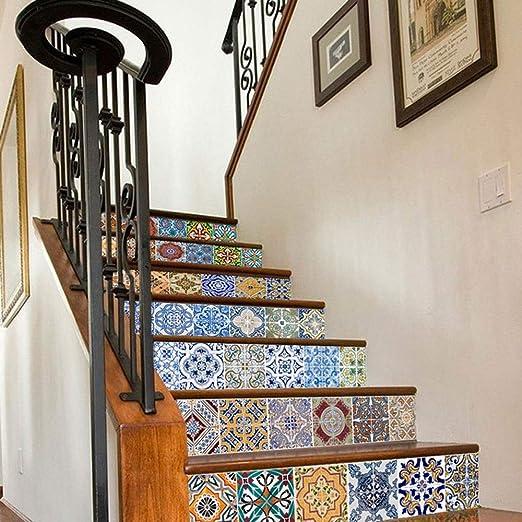 WYKDL 6 Piezas increíble Pared Estilo árabe Escalera Pegatina imitación azulejo calcomanía Muebles Mural decoración Cocina baño Papel Pintado 3D Vinilo Adhesivo Autoadhesivo extraíble: Amazon.es: Hogar