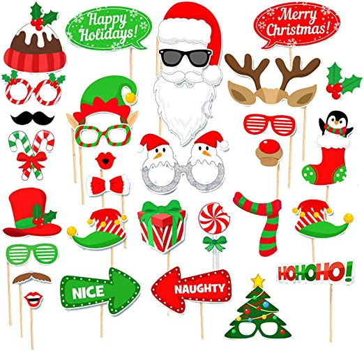 31 Pieces Christmas Photo Booth Props Christmas Selfie Pose Props Kits Christmas Photo Frame Funny Photo Props for Party Supplies