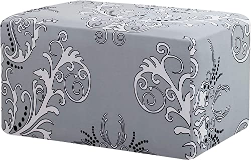 TIKAMI Ottoman Slipcovers Spandex Elastic Stretch Rectangle Folding Storage Covers Removable Footstool Protect Oversized Footrest Covers Gray Pattern