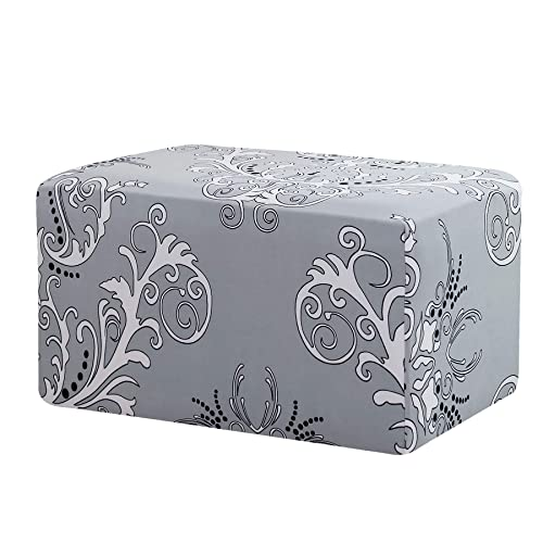 TIKAMI Ottoman Slipcovers Stretch Rectangle Folding Storage Covers Removable Footstool Protect Footrest Covers Gray Pattern