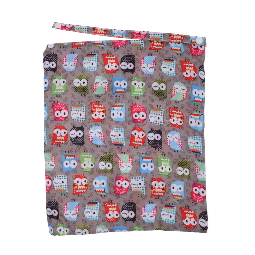 Generic Mummy Cloth Diaper Bag Wet Dry Zipper Tote Nappy Bag Owl Pattern Yellow