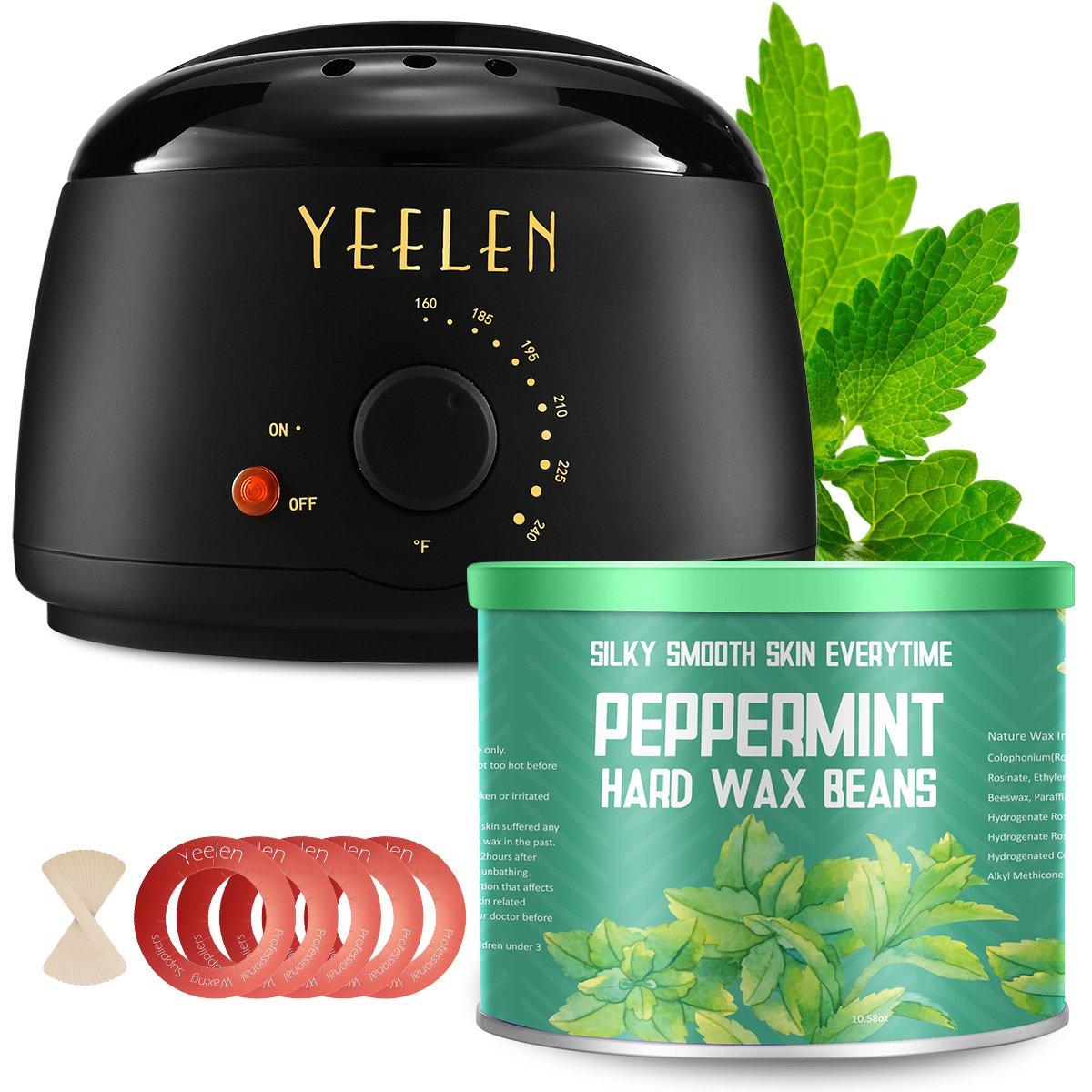 【Peppermint Essential Oil】Yeelen Waxing Kit Hair Removal Wax Warmer with 10.58oz Peppermint Essential Hard Wax Beans, Wax Applicator Sticks and Wax Warmer Collars