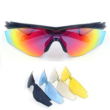 Cuzaekii 5 Lentes Polarizado Ciclismo Gafas UV400 MTB Bicicleta Eyewear Intemperie Deportes Excursionismo Gafas de sol