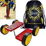 STEP FUN (Rouge) Acrobatic 4 roues plastique équilibre cirque prop Pedal Racer - parfait pour les enfants, les adultes + Flames N Games Sac de transport.