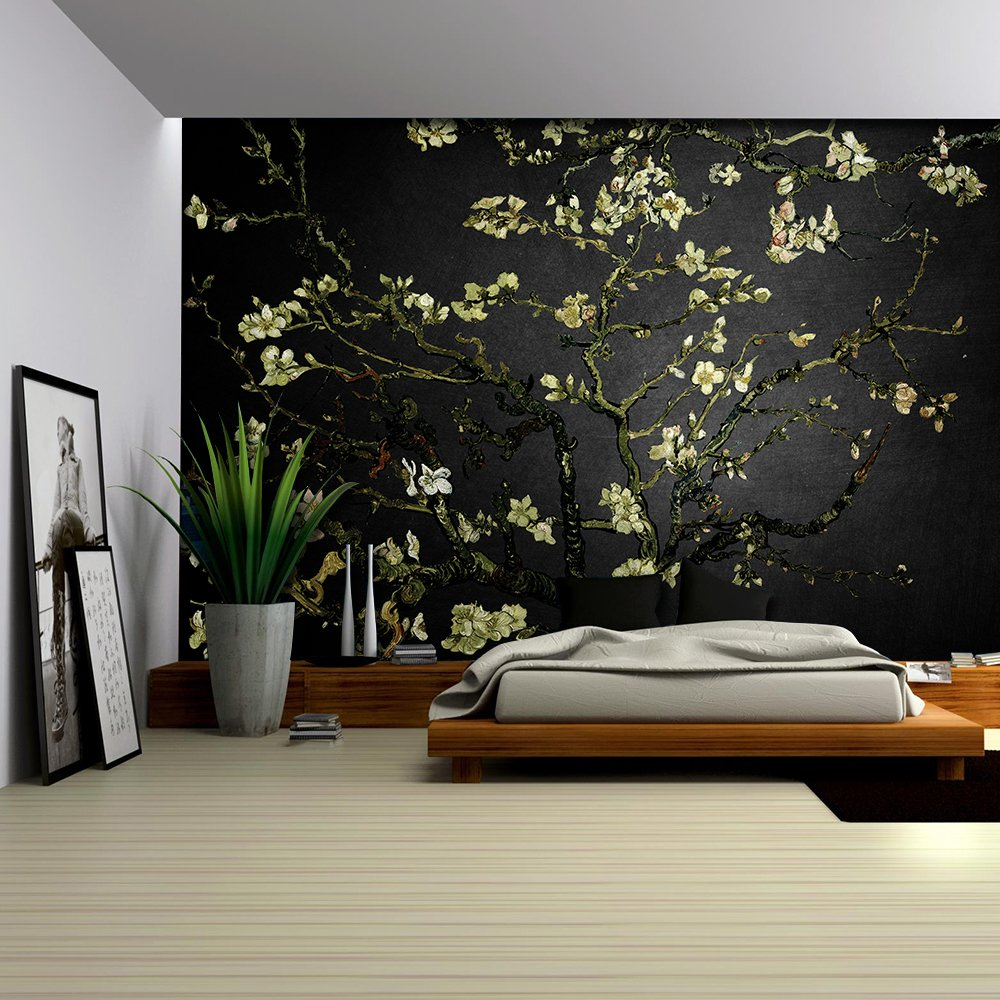 wall26 com art prints framed art canvas prints greeting wall26 cream almond blossom painting by vincent van gogh on black background wall mural removable sticker home decor 100x144 inches